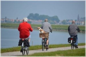 active elderly bikers
