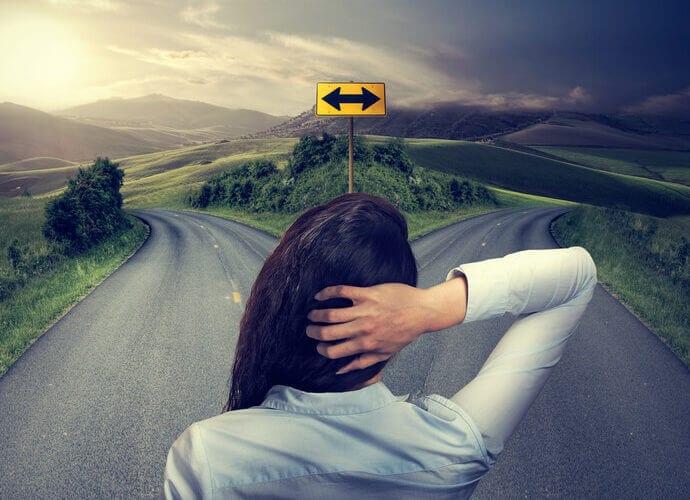 woman crossroads