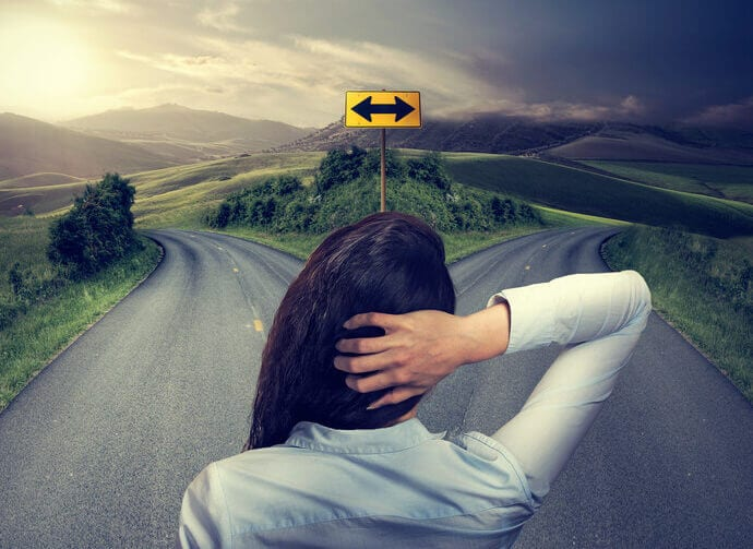 woman crossroads