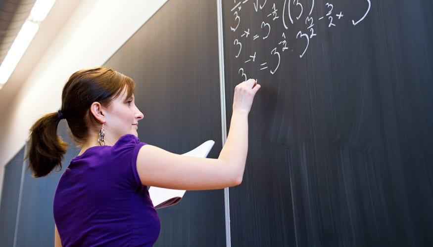 women college blackboard writing
