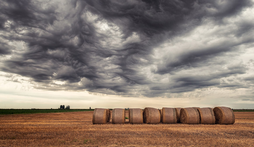 dark clouds hay