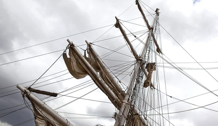 Masts, sails and rigging on a tall ship